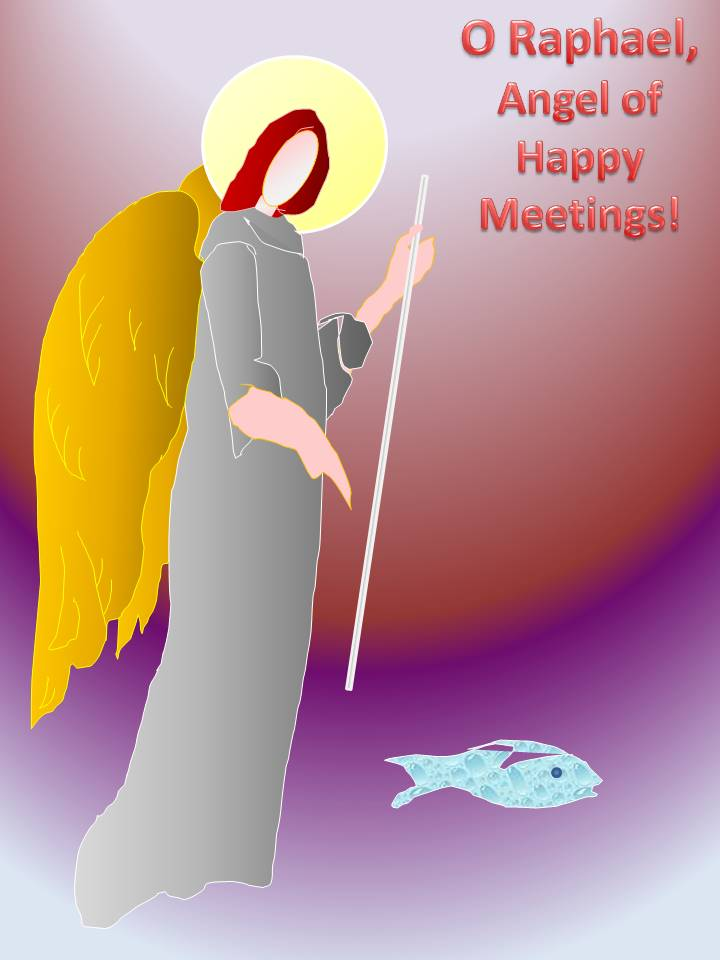 Saint Raphael, Angel of Happy Meetings, design by Michele Szekely